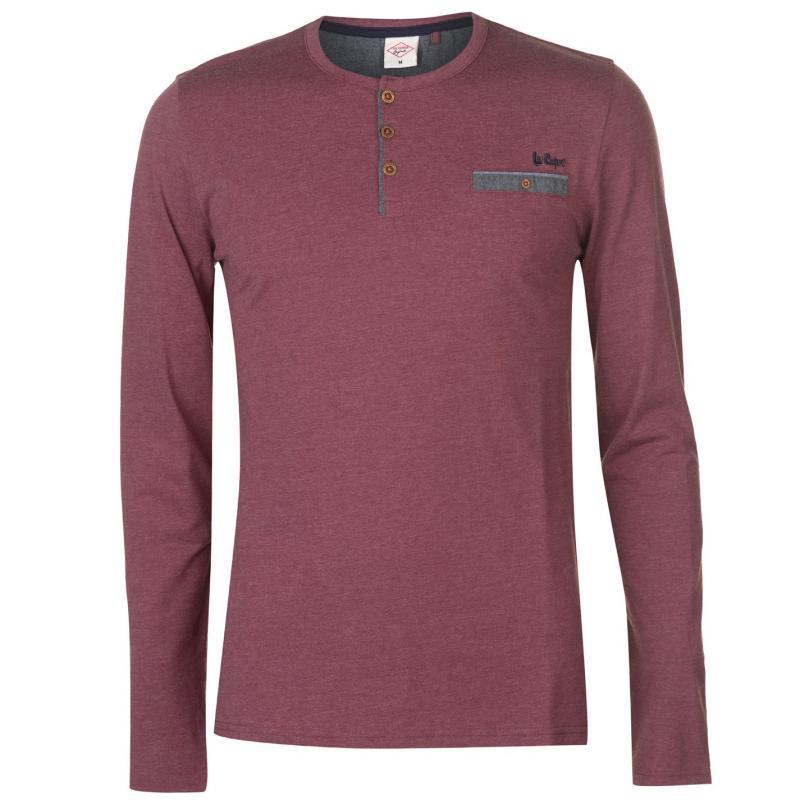 Lee Cooper Chambray Button T Shirt Mens Burgundy Marl