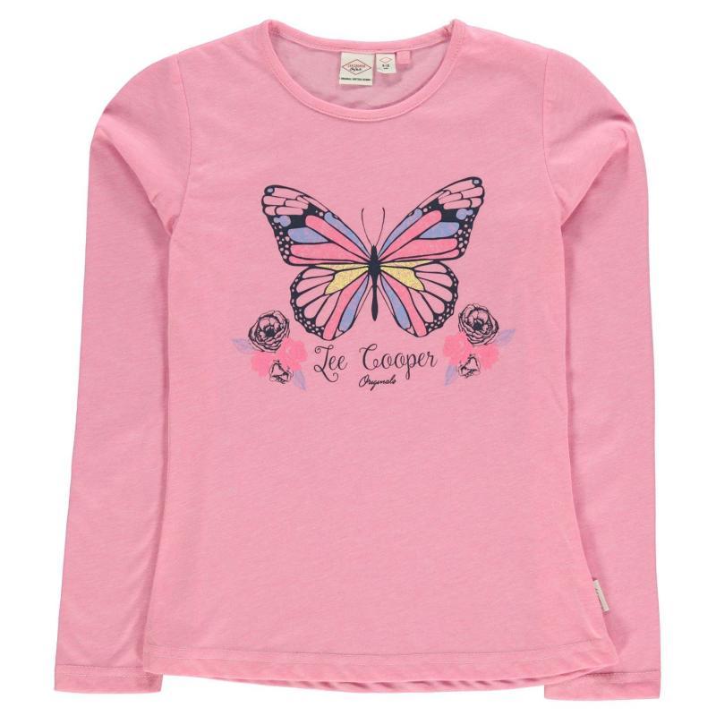 Lee Cooper Long Sleeve T Shirt Junior Girls Pink B/Fly