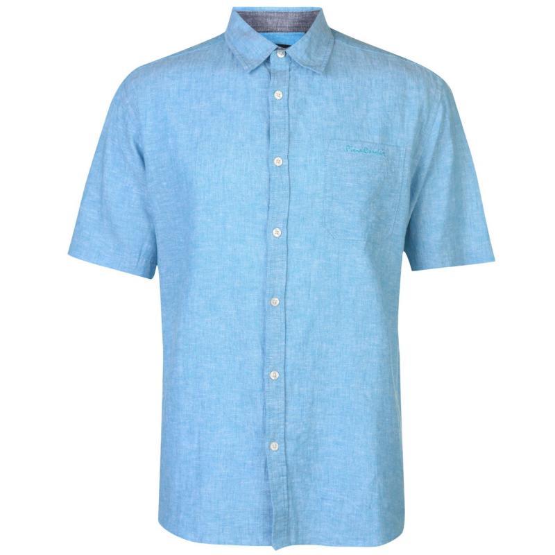 Pierre Cardin Short Sleeve Linen Shirt Mens Turquoise