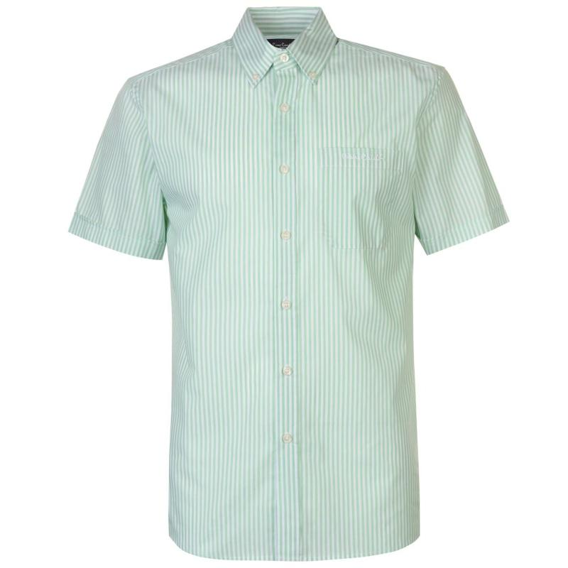 Pierre Cardin Short Sleeve Stripe Shirt Mens Mint/White