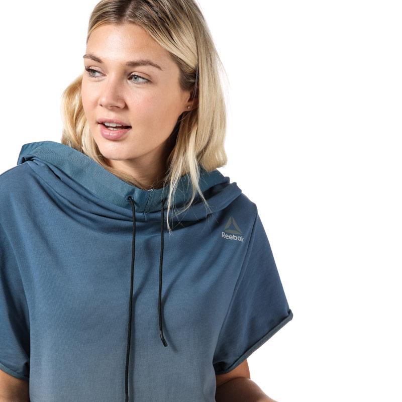 Reebok Womens Combat Ombre Short Sleeve Hoody Blue