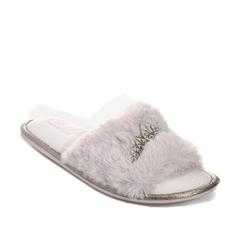 Pretty You Womens Taylor Faux Fur Slide Slippers Rose