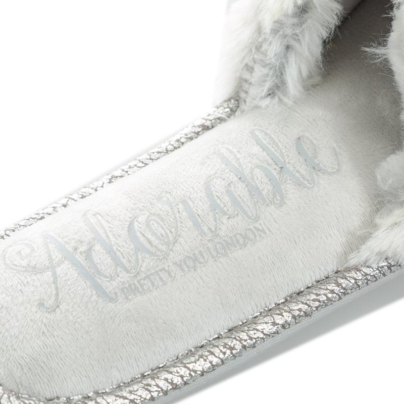 Pretty You Womens Taylor Faux Fur Slide Slippers Grey