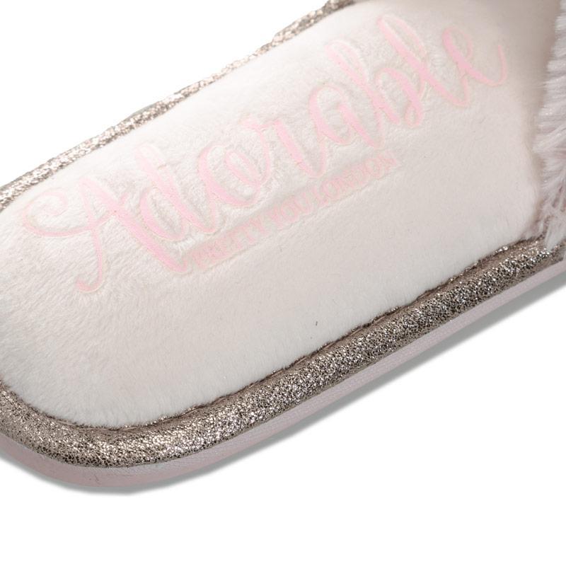 Pretty You Womens Taylor Faux Fur Slide Slippers Grey