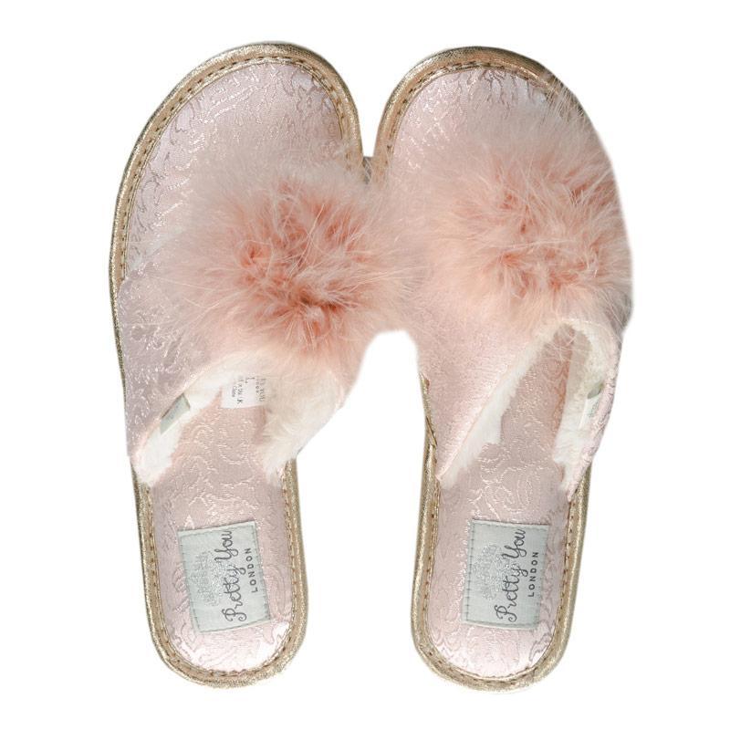 Pretty You Womens Trixie Pom Pom Toe Post Slippers Peach