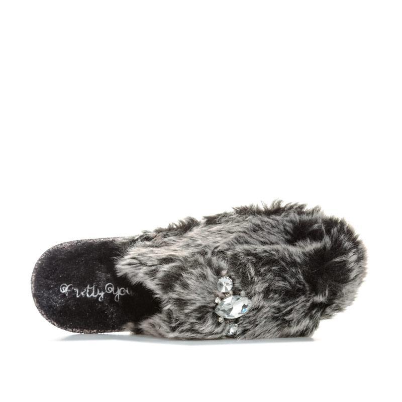 Pretty You Womens Vogue Faux Fur Mule Slippers Black