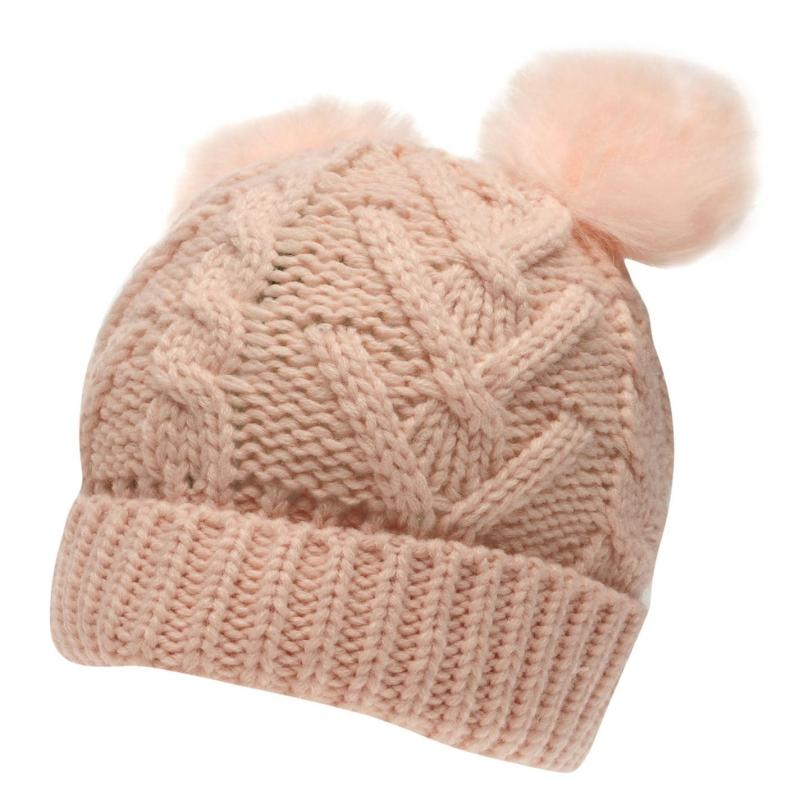 Crafted Essentials Essentials Double Pompom Hat Pink Dbl Pom