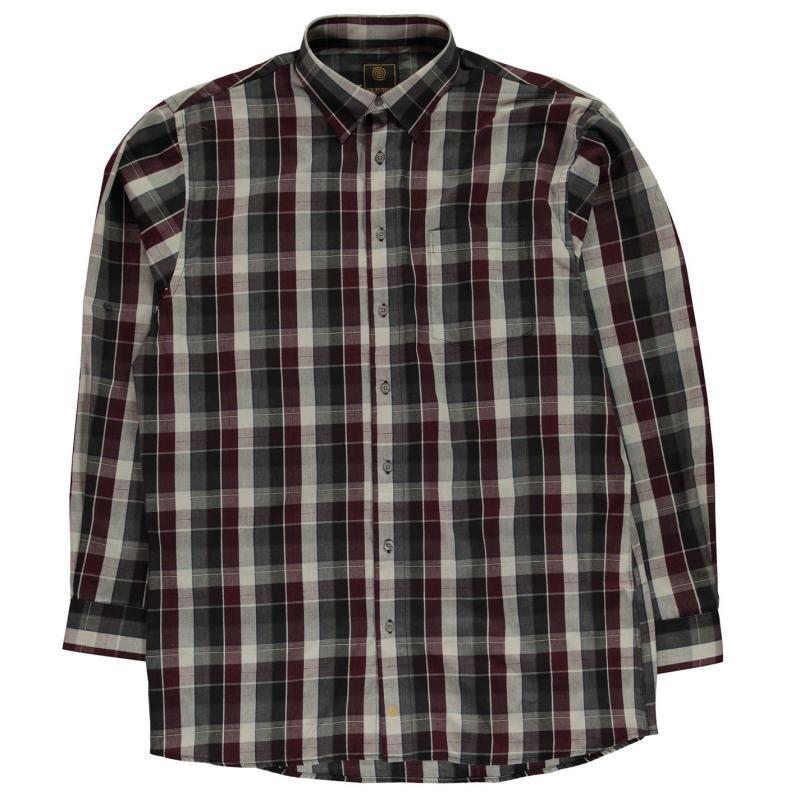 Fusion Plaid Button Down Shirt Mens Burgundy