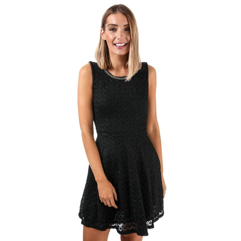 Šaty Mela London Womens Diamond Cross Lace Dress Black