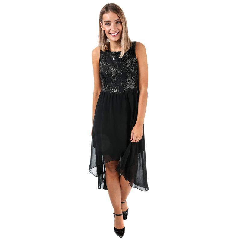Šaty Mela London Womens Flower Top High Low Dress Black