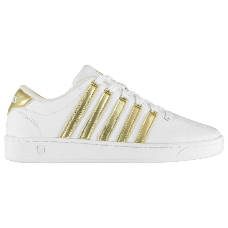 K Swiss Court Pro II Trainers Ladies White/Gold