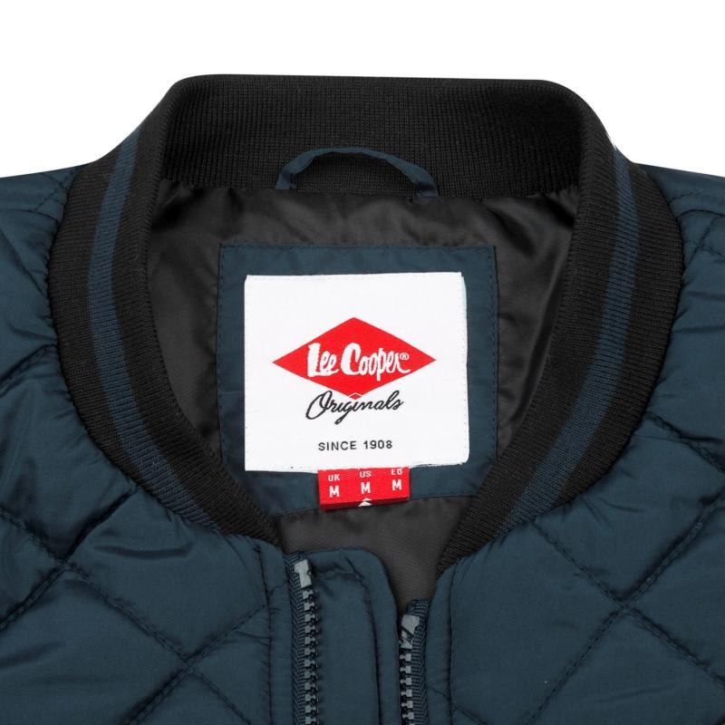 Lee Cooper Quilted Bomber Jacket Mens Navy