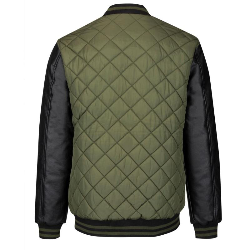 Lee Cooper Quilted Bomber Jacket Mens Army Green