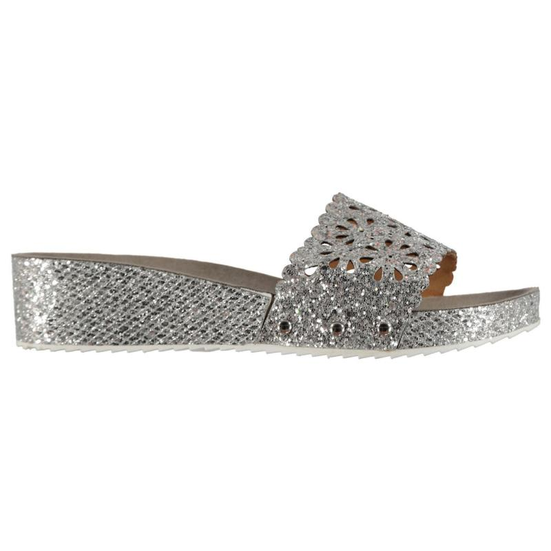 Boty M Collection Glitter Ladies Wedge Sandals Silver