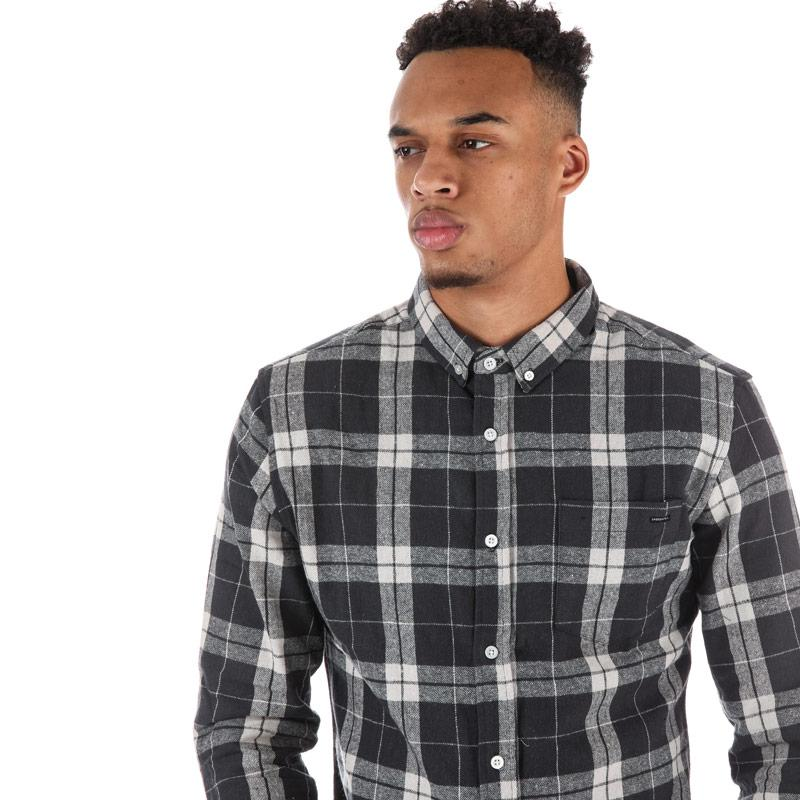 Crosshatch Black Label Mens Hilmas Checked Shirt Charcoal