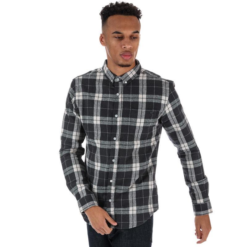 Crosshatch Black Label Mens Hilmas Checked Shirt Charcoal