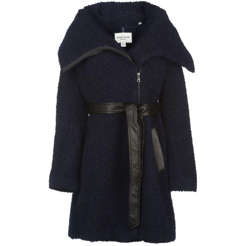 Cole Haan Wool Coat Ladies Navy
