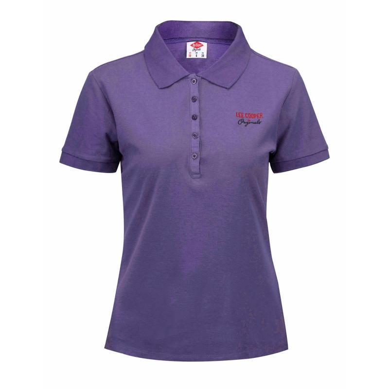 Polokošile Lee Cooper Plain Polo Shirt Ladies Purple