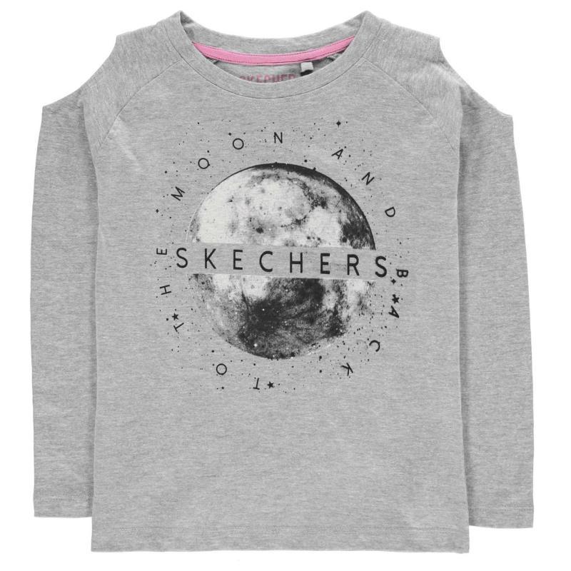 Skechers Cold Shoulder Long Sleeve T Shirt Junior Girls Black
