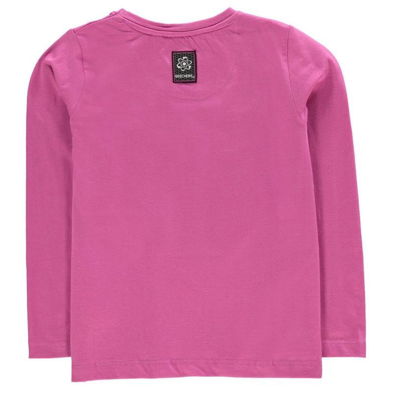 Skechers Long Sleeve Graphic T Shirt Junior Girls Raspberry