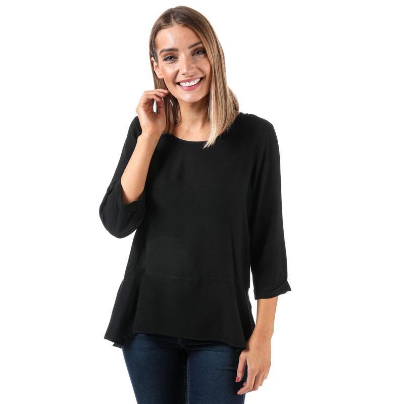 Vero Moda Womens Boca Frill 3 Quarter Sleeve Top Black