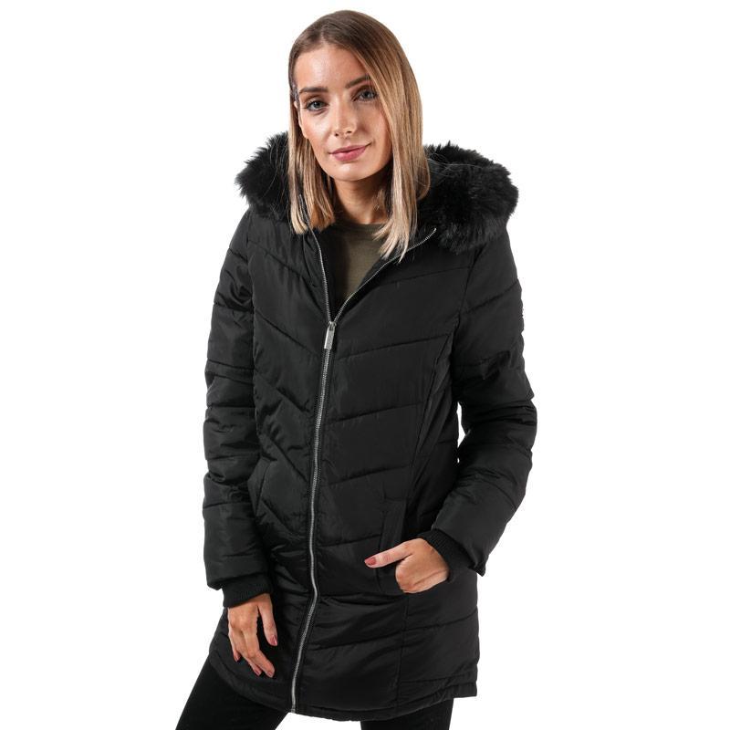 Elle Womens Sabine Hooded Coat With Faux Fur Trim Black