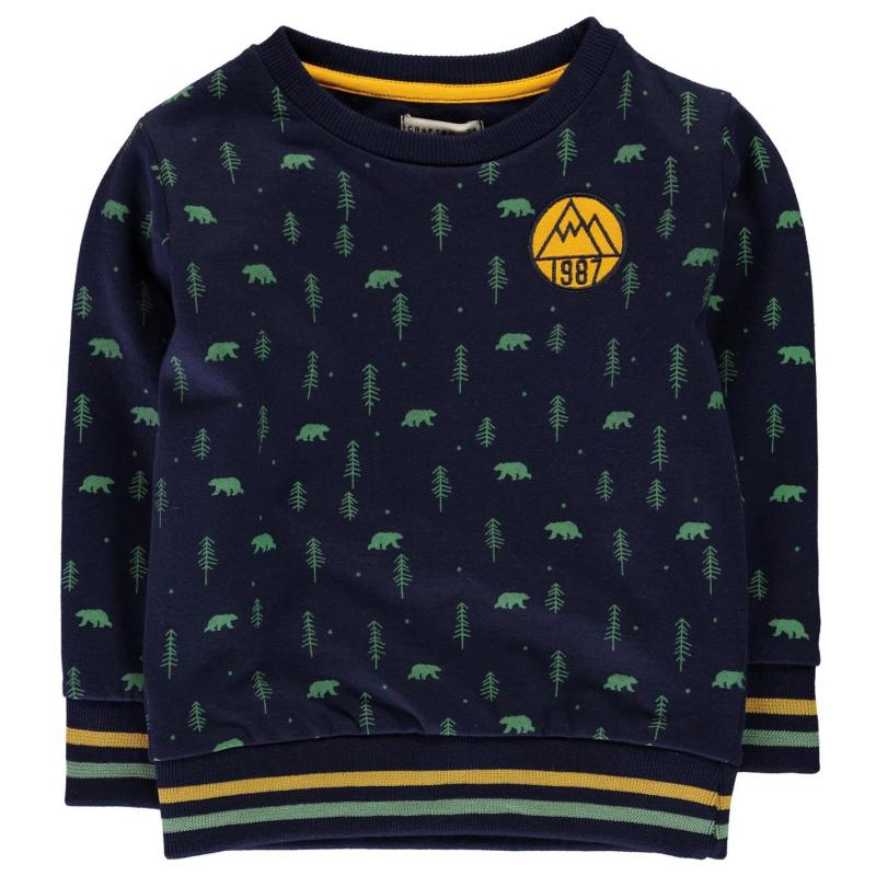 Mikina Crafted Crew Sweater Infant Boys Navy AOP