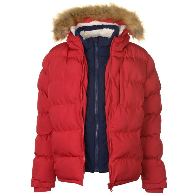 SoulCal 2 Zip Bubble Jacket Mens Red/Navy
