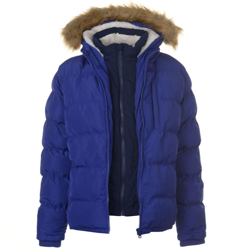 SoulCal 2 Zip Bubble Jacket Mens Blue/Navy