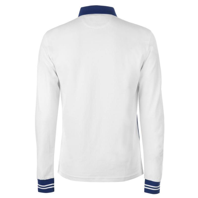 Mikina Hackett Snow Logo Cotton Blend Long Sleeved Polo Shirt Chalk