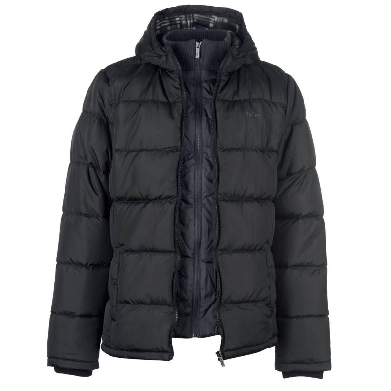 Lee Cooper Two Zip Padded Jacket Mens Black