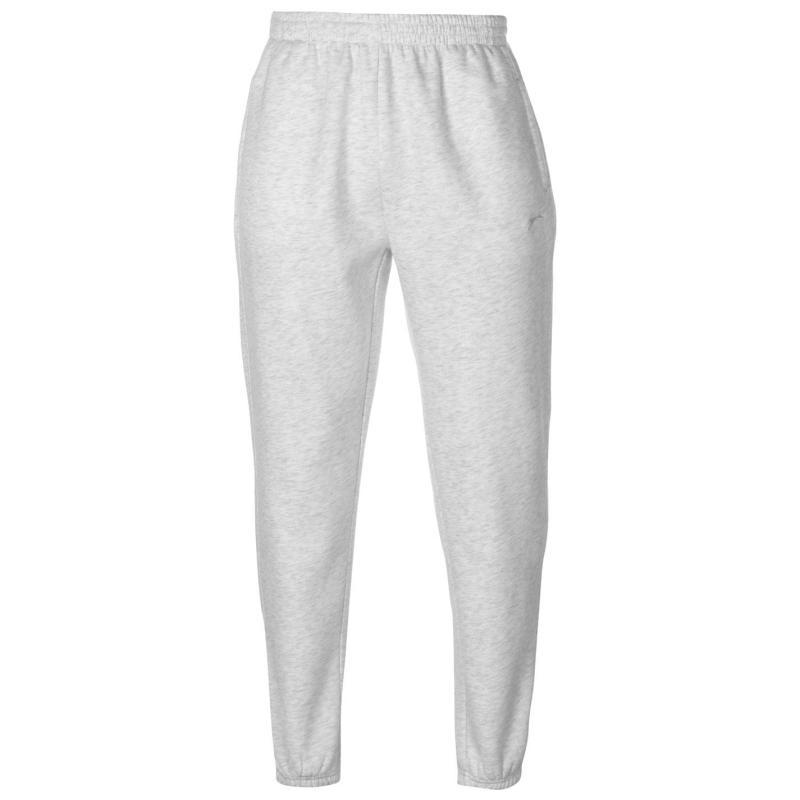 Tepláky Slazenger Cuffed Fleece Jogging Pants Mens White Marl