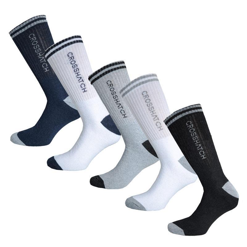 Ponožky Crosshatch Mens Cardio 5 Pack Sport Socks Black Grey White