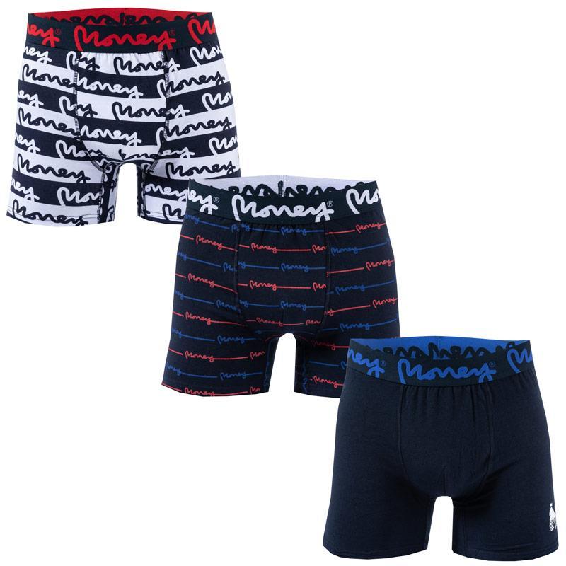Spodní prádlo Money Mens Congol 3 Pack Boxer Shorts White Navy