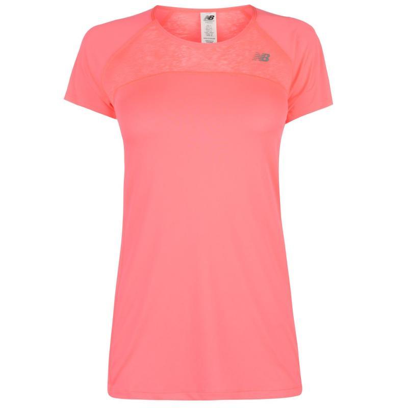 New Balance Short Sleeve Running Top Ladies Guava 686