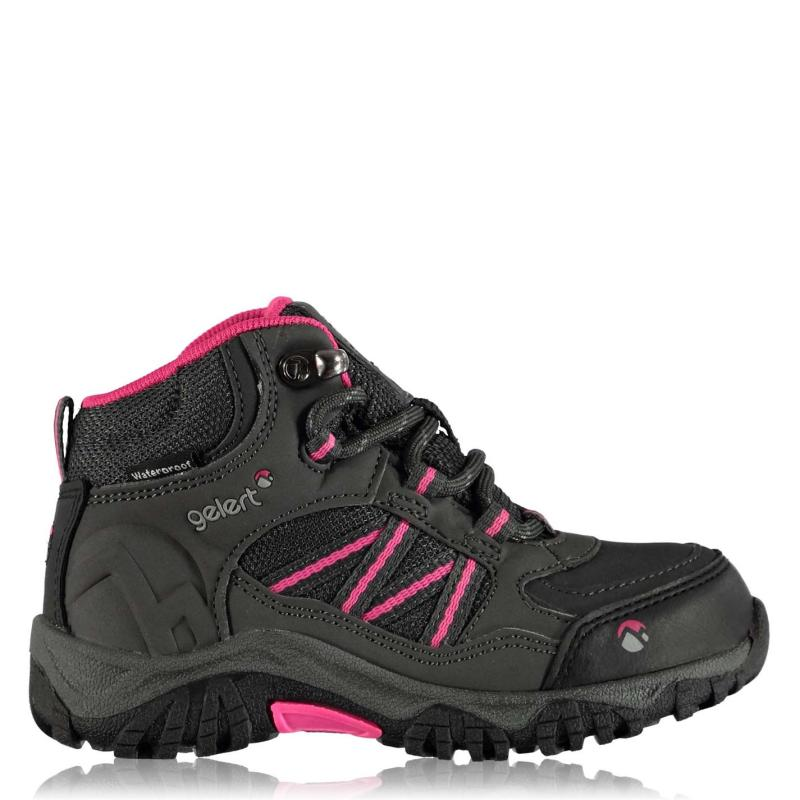 Gelert Horizon Mid Waterproof Infants Walking Boots Charcoal/Pink