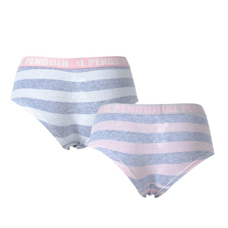 Spodní prádlo Original Penguin Womens 2 Pack Boy Short Briefs Pink grey
