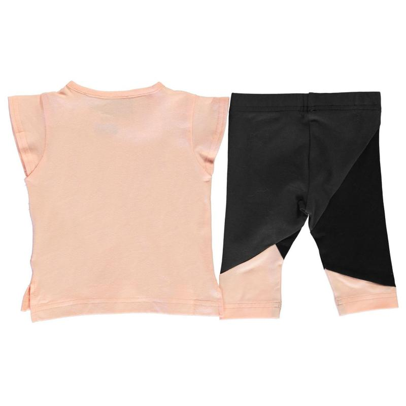 Tepláky adidas Print Tee and Tights Set Babies Coral/Black