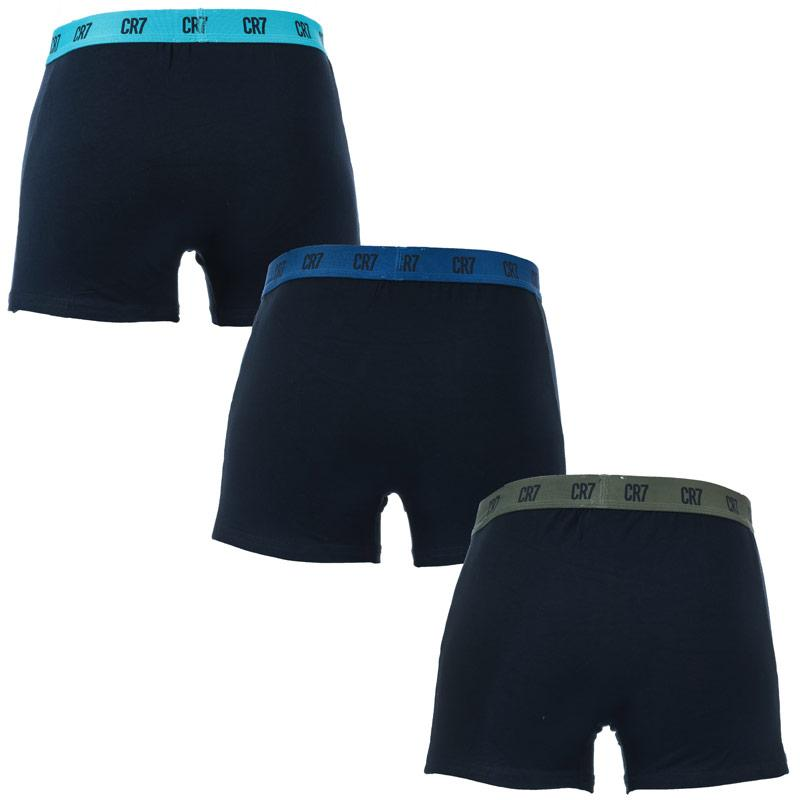 Spodní prádlo Mens CR7 3 Pack Boxer Shorts Navy White Grey