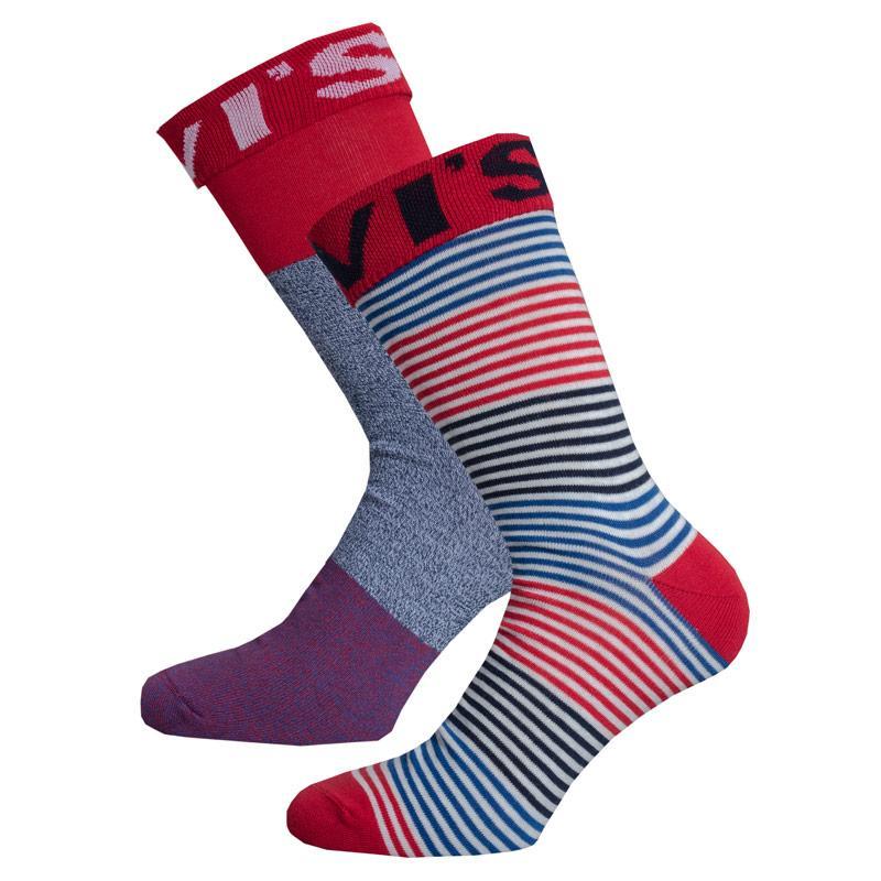 Ponožky Levis Mens Enginereed 2 Pack Stripe Socks Red Blue