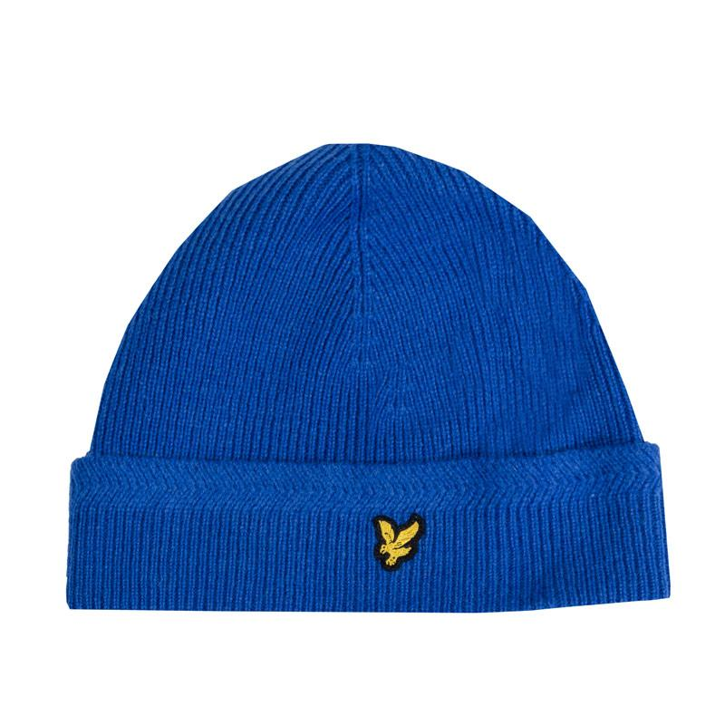 Lyle And Scott Mens Racked Rib Beanie Blue