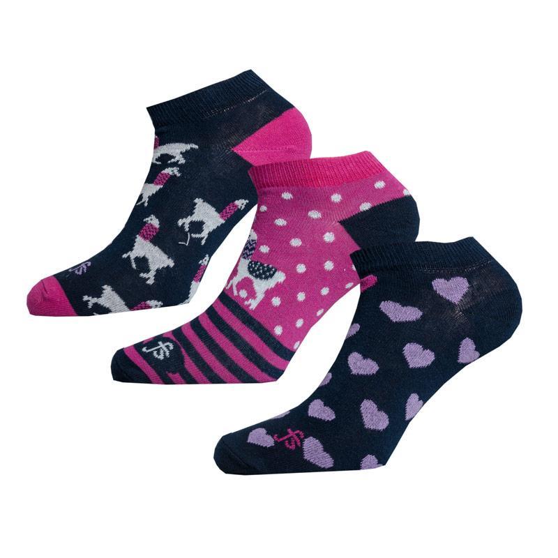 Ponožky Fenella Smith Womens 3 Pack Llama Hearts Trainer Liner Socks Navy