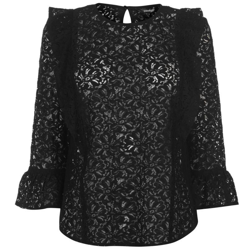 Košile Golddigga Lace Blouse Ladies Black