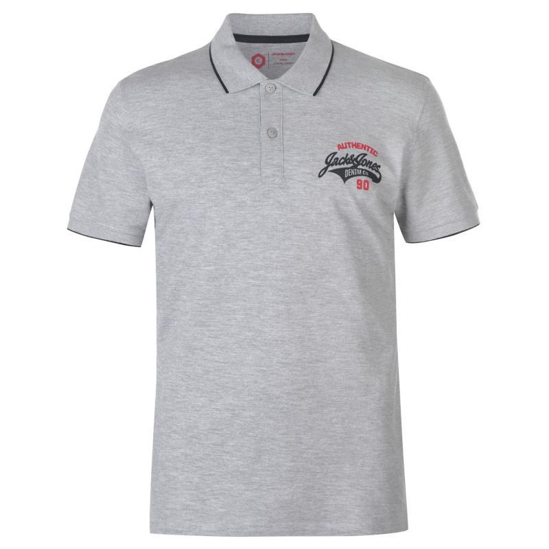 Jack and Jones Core Heritage Polo Shirt Mens Light Grey Marl