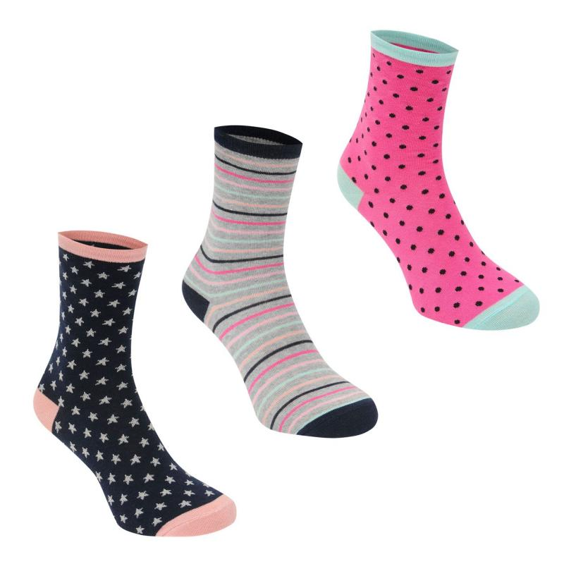 Ponožky Miso 3 Pack Patterned Design Socks Ladies Multi Stars