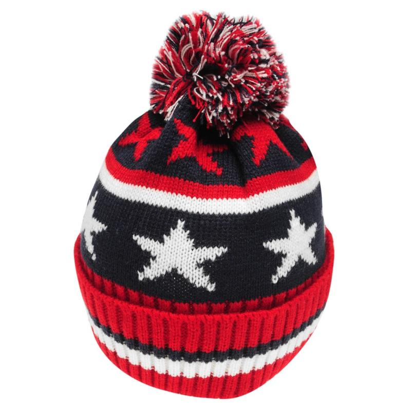 Crafted Essentials Stars and Stripes Bobble Hat Child Boys Navy/Red/Stars
