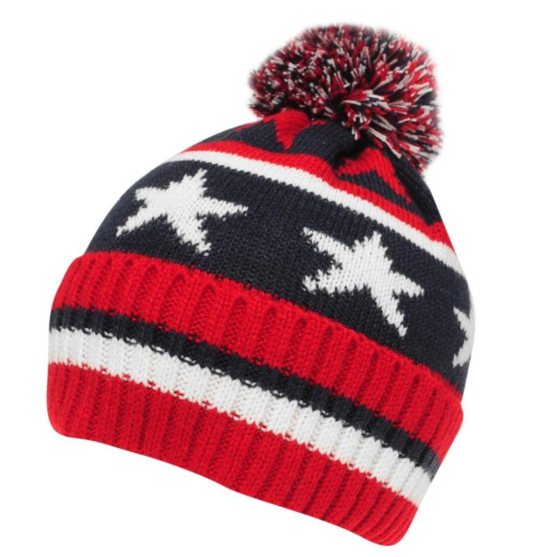 Crafted Essentials Stars and Stripes Bobble Hat Child Boys Navy/Red