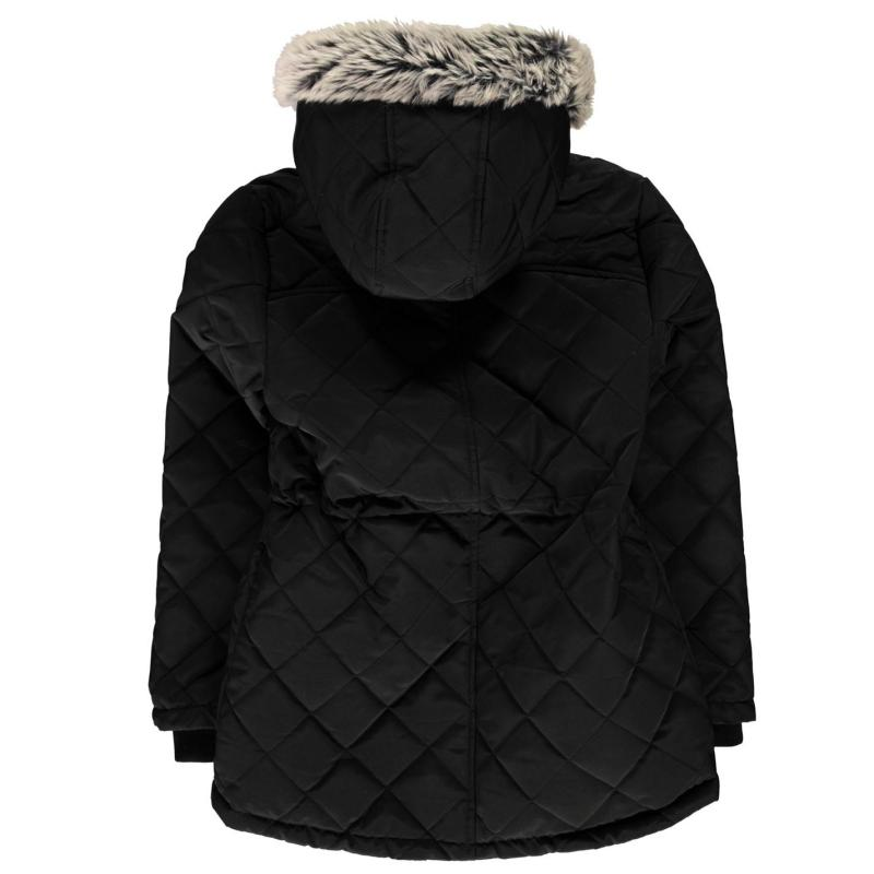 Firetrap Quilted Parka Jacket Junior Girls Black