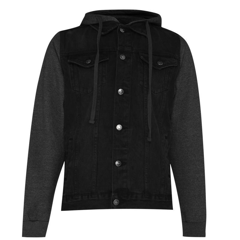 Lee Cooper Jeans Sweater Hooded Denim Jacket Mens Black