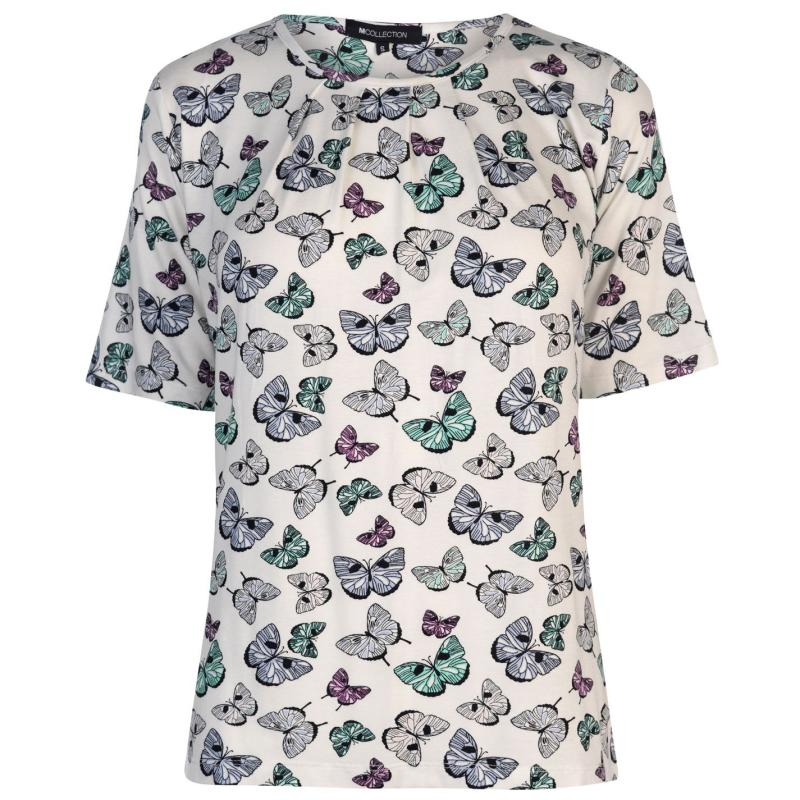 M Collection Printed Top Ladies Cream